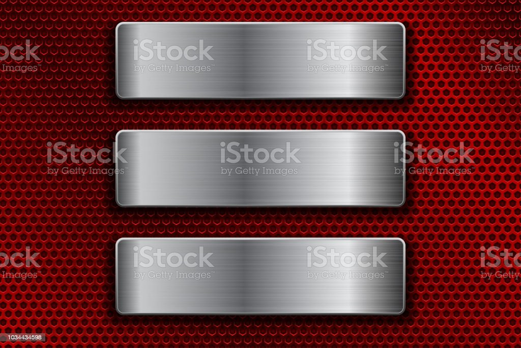 Steel plates on red metal perforated background vector art illustration