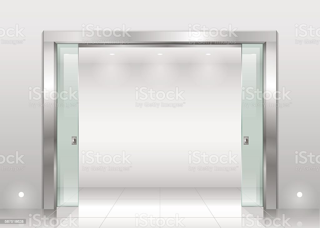 Steel portal and sliding door vector art illustration