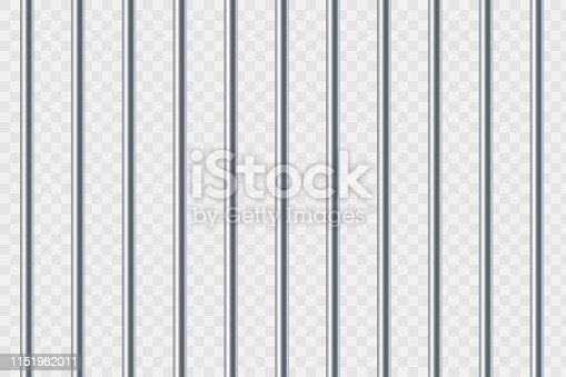Steel prison bars. Isolated on a transparent background. Vector template.