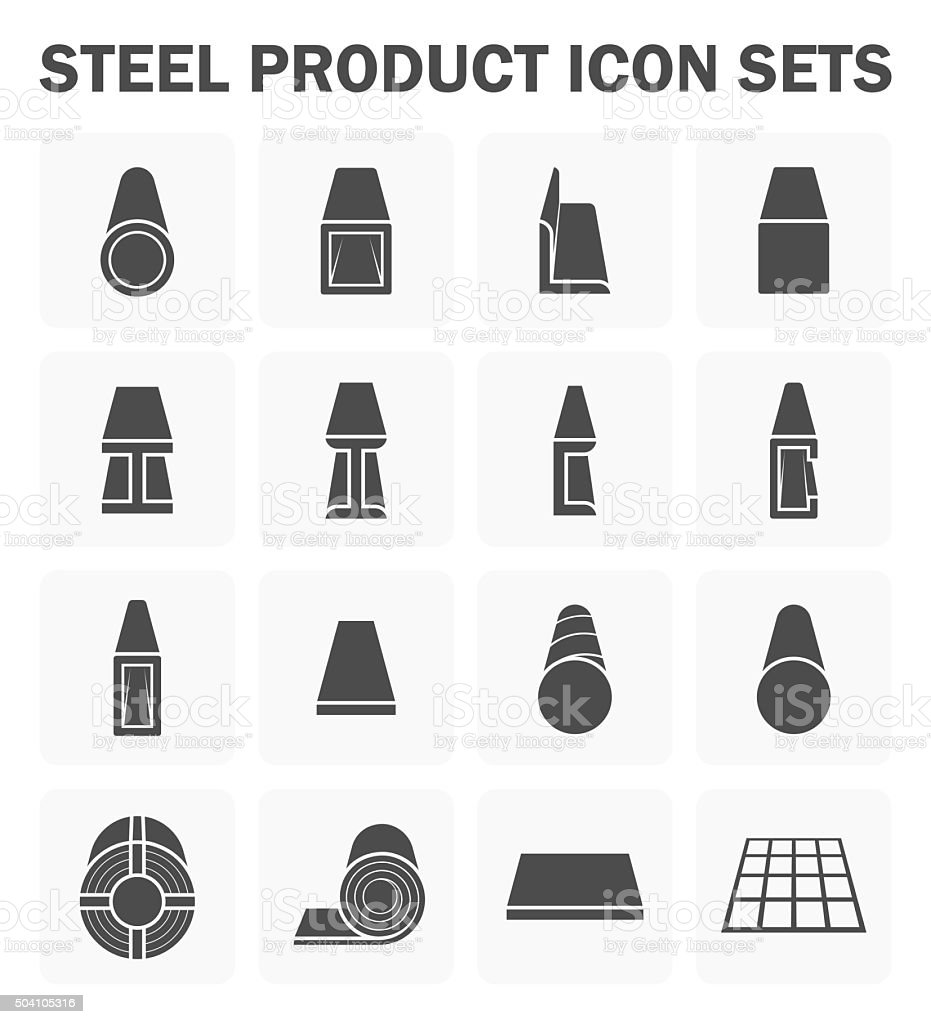 Steel product icons vector art illustration