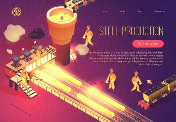 stahlproduktionsbanner mit metallurgie-prozess - metallverarbeitung stock-grafiken, -clipart, -cartoons und -symbole