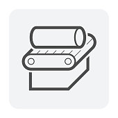 Steel pipe and production line vector icon design on white background.