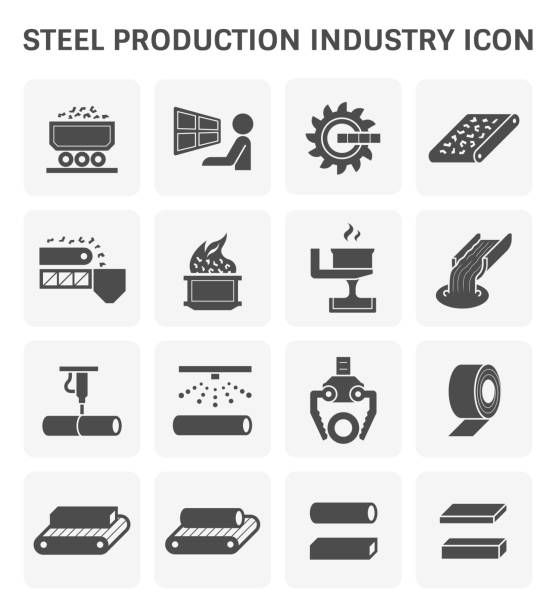 stahlproduktion symbol - metallverarbeitung stock-grafiken, -clipart, -cartoons und -symbole