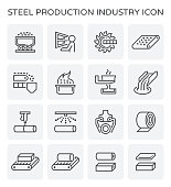 Steel and metal production industry vector icon set.
