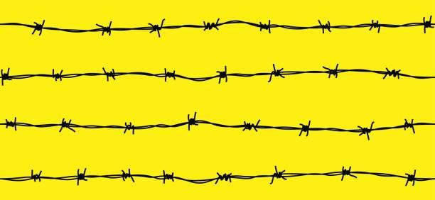 Patrón sin fisuras de acero alambre de púas oxidado - ilustración de arte vectorial