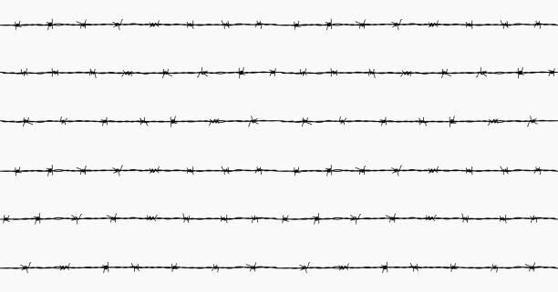 Steel rusty barbwire seamless pattern vector art illustration