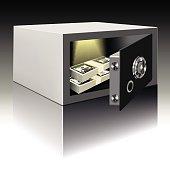 Security metal safe with money inside. Vector illustration