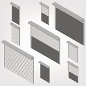 Steel security shutters isometric, vector illustration.
