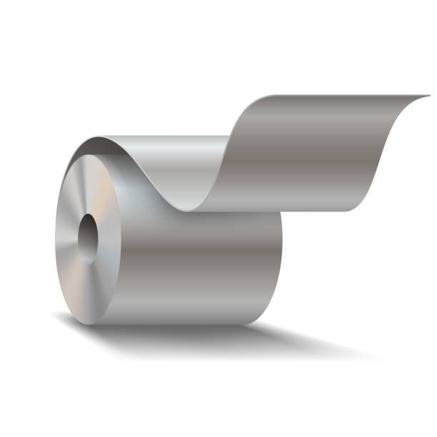 steel sheet roll on white background - aluminum foil roll stock illustrations, clip art, cartoons, & icons