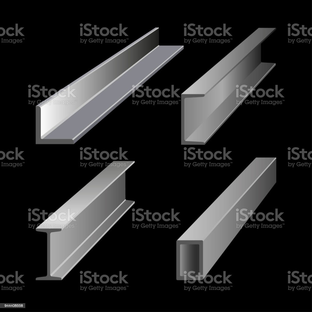 Steel structural sections vector art illustration
