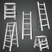 Steel vector staircases. Metal ladder, aluminum stairs vector. Set of ladders illustration