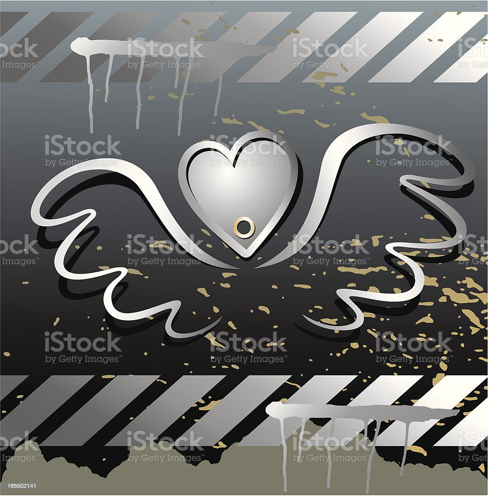 Steel wings -silver heart. Grunge background. royalty-free steel wings silver heart grunge background stock vector art & more images of backgrounds