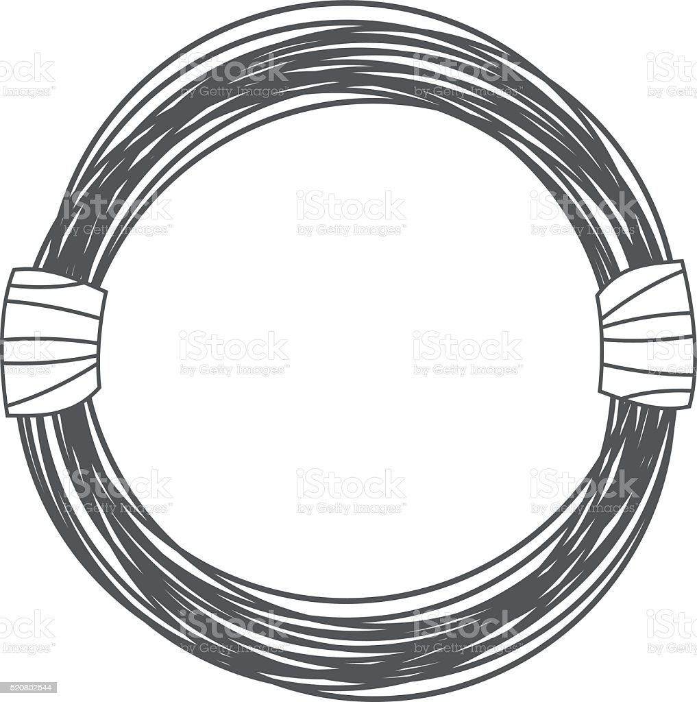 Steel Wire Rope Cable In Cartoon Style Outline Drawing Stock Vector ...
