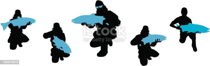 Steelheader Fisherman Silhouette Set