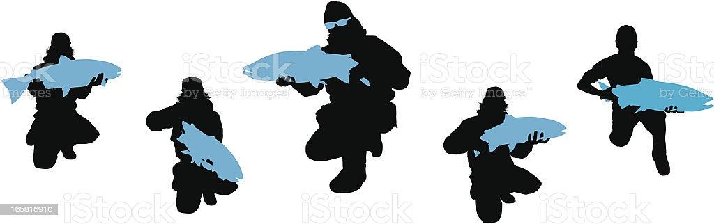 Steelheader Fisherman Silhouette Set vector art illustration
