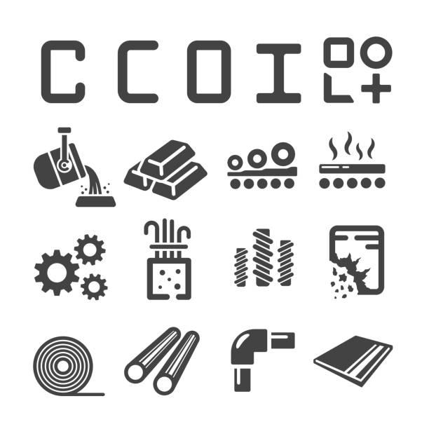 stahl, eisen-symbol - metallverarbeitung stock-grafiken, -clipart, -cartoons und -symbole