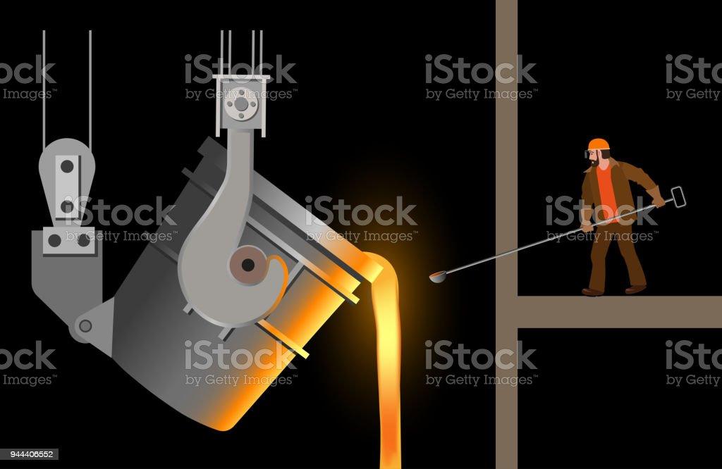 Steelmaker near the steel casting ladle vector art illustration