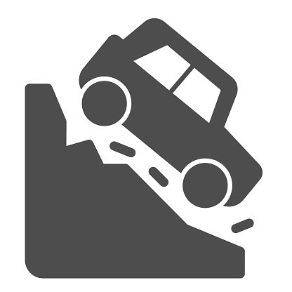 Steep descent solid icon. Auto coming from incline mountain downwards symbol, glyph style pictogram on white background. Car accidents sign for mobile concept, web design. Vector graphics.