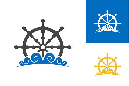 Steering Boat And Wave Logo Template Design Vector, Emblem, Design Concept, Creative Symbol, Icon