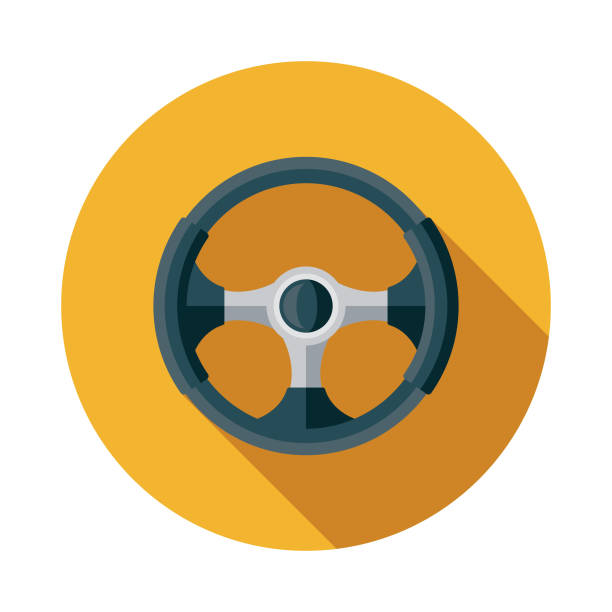 Steering Wheel Flat Design Car Service Icon A flat design/thin line icon on a colored background. Color swatches are global so it's easy to edit and change the colors. File is built in CMYK for optimal printing and the background is on a separate layer. steering wheel stock illustrations