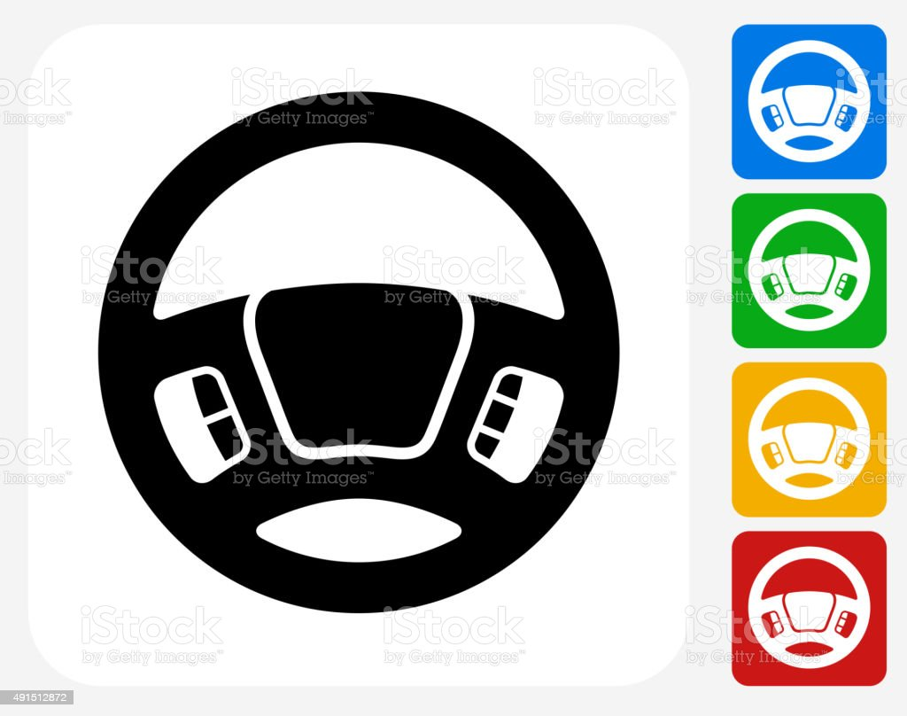 Steering Wheel Icon Flat Graphic Design vector art illustration