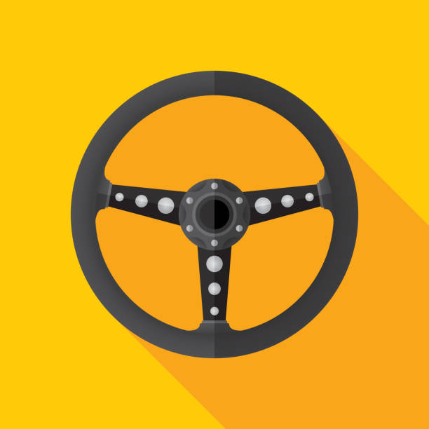 Steering Wheel Icon Flat Vector illustration of a steering wheel against a gold background in flat style. steering wheel stock illustrations
