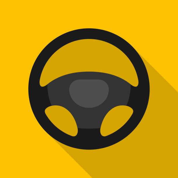 Steering wheel icon isolated on yellow background. Car wheel control silhouette, Black auto part driving in flat style. Steering wheel icon isolated on yellow background. Car wheel control silhouette, Black auto part driving in flat style. Vector illustration steering wheel stock illustrations