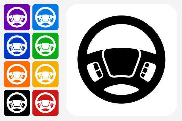Steering Wheel Icon Square Button Set Steering Wheel Icon Square Button Set. The icon is in black on a white square with rounded corners. The are eight alternative button options on the left in purple, blue, navy, green, orange, yellow, black and red colors. The icon is in white against these vibrant backgrounds. The illustration is flat and will work well both online and in print. steering wheel stock illustrations