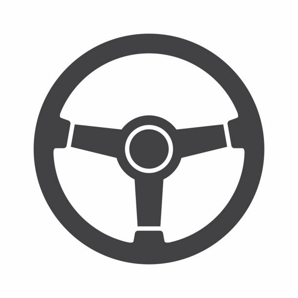Steering wheel icon Vector icon isolated on white background steering wheel stock illustrations