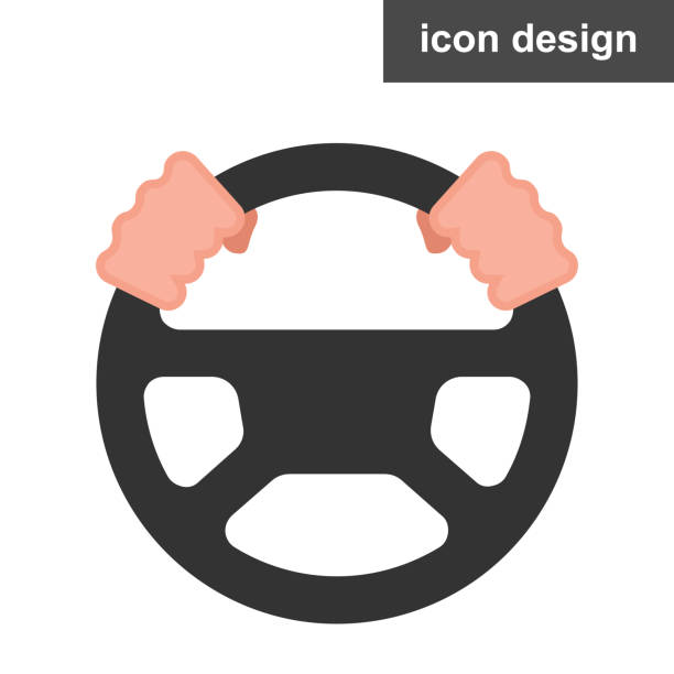 Steering wheel icon vector art illustration