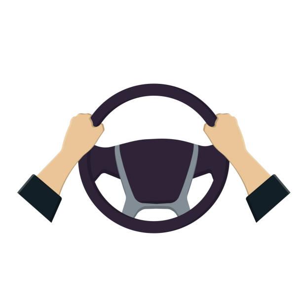 Steering wheel in the hands of vector graphics Car steering wheel steering wheel stock illustrations