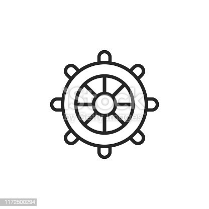 Steering Wheel Outline Icon with Editable Stroke.