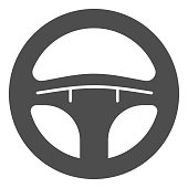 Steering wheel solid icon. Automobile steering wheel vector illustration isolated on white. Car drive part glyph style design, designed for web and app. Eps 10