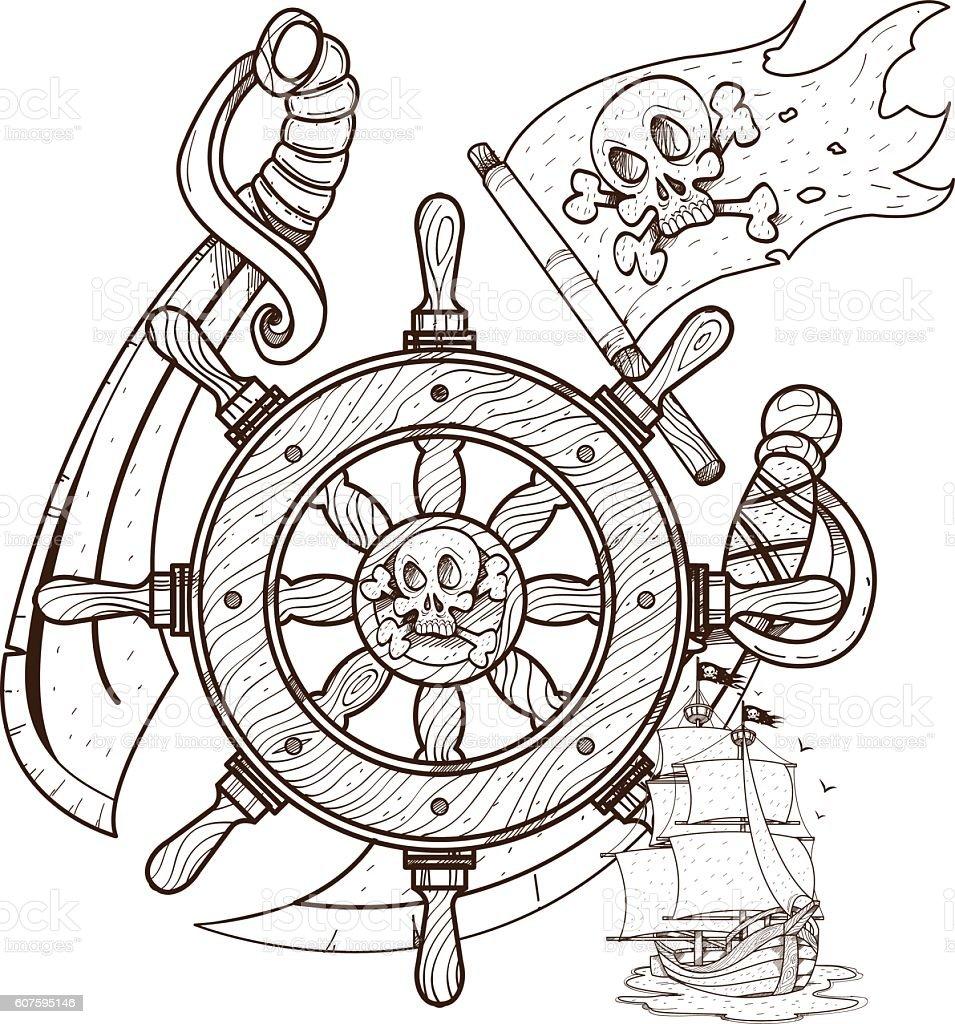 Vetores De Steering Wheel Sword Jolly Roger Pirate Ship Graphics Pirate Theme E Mais Imagens De Adaga Istock