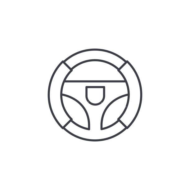 Steering wheel thin line icon. Linear vector symbol Steering wheel thin line icon. Linear vector illustration. Pictogram isolated on white background steering wheel stock illustrations