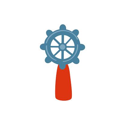 Steering wheel vector illustration isolated on white background, circle handlebar, decorative marine flat sign rudder, cartoon sea symbol helm for travel design, greeting card, invitation