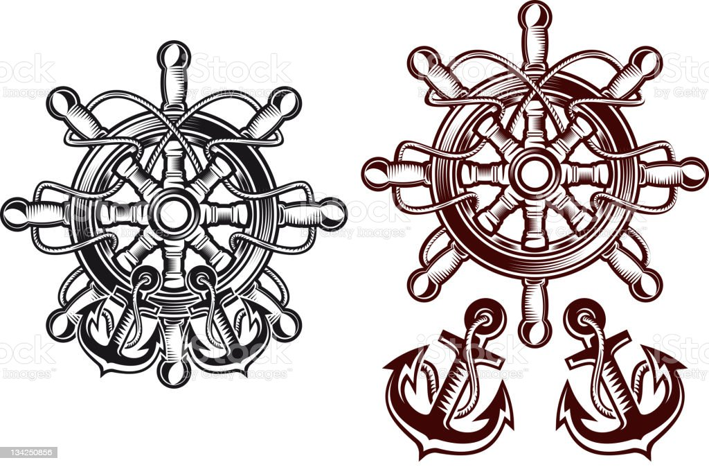 Steering wheel with anchors royalty-free steering wheel with anchors stock vector art & more images of adventure