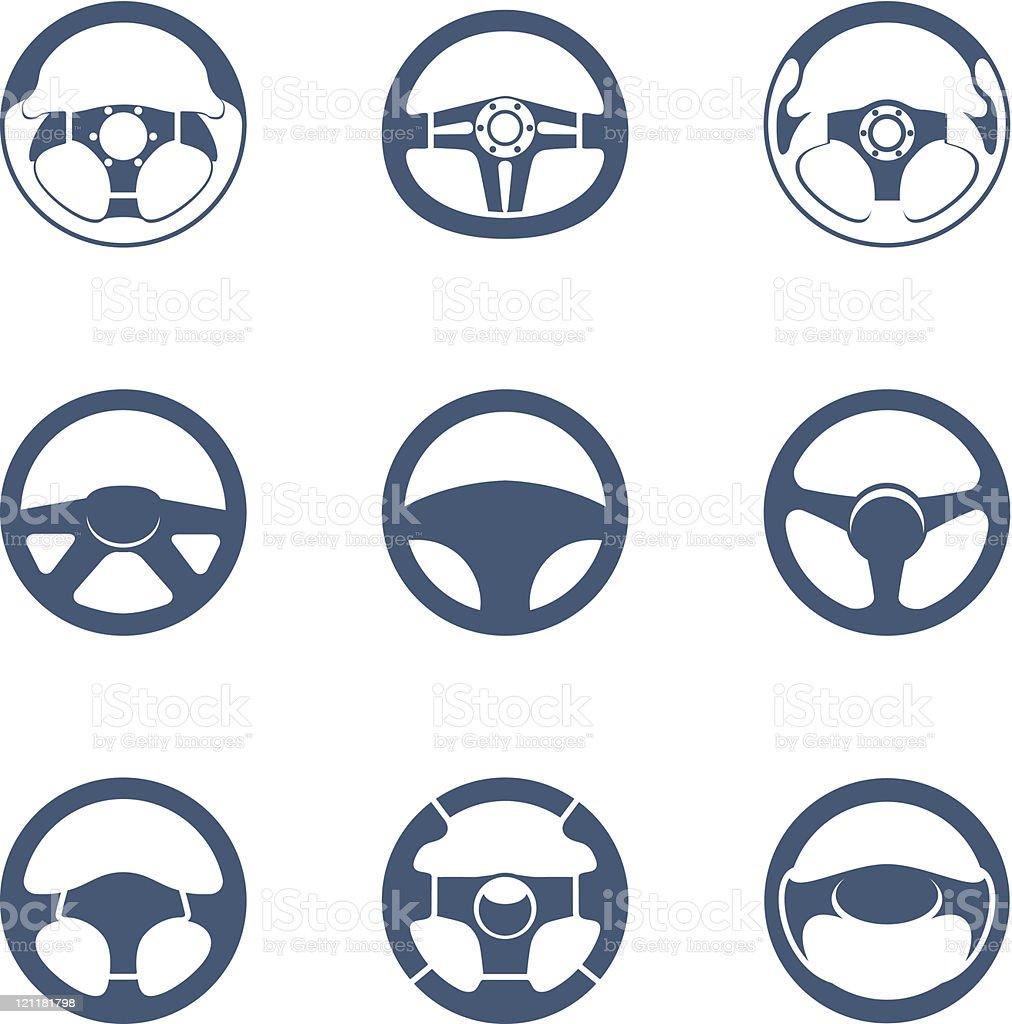 Steering wheels silhouettes royalty-free stock vector art