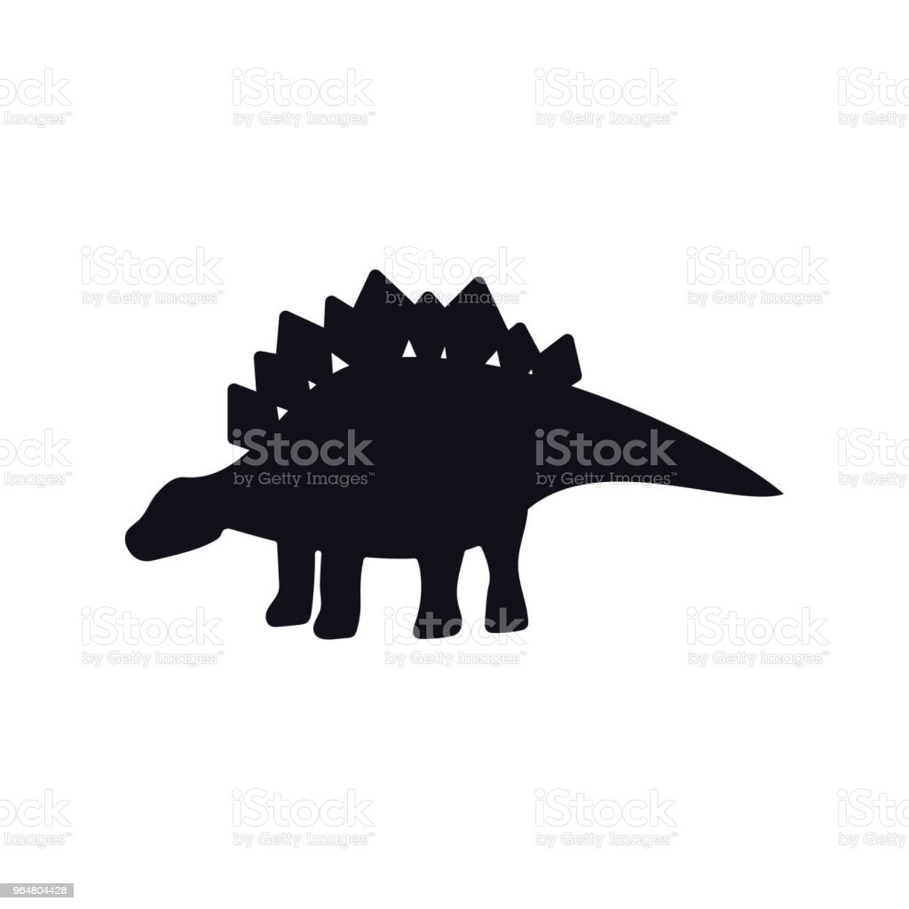 Stegosaurus black silhouette on white royalty-free stegosaurus black silhouette on white stock illustration - download image now