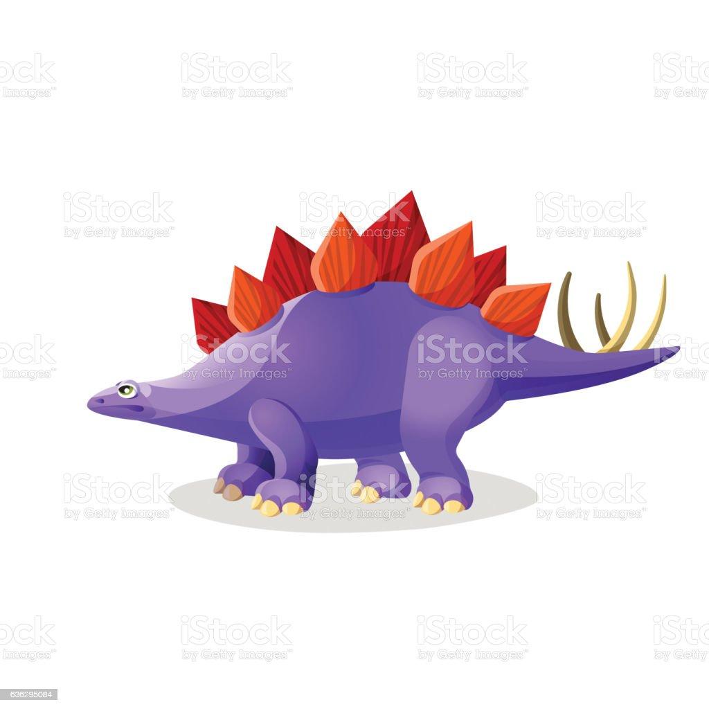 Stegosaurus isolated on white. Genus of armored dinosaur vector art illustration