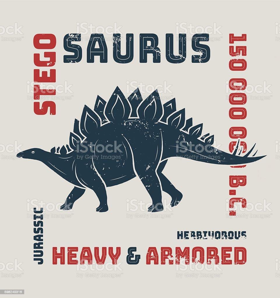 Stegosaurus t-shirt design, print, typography, label. Vector illustration. vector art illustration