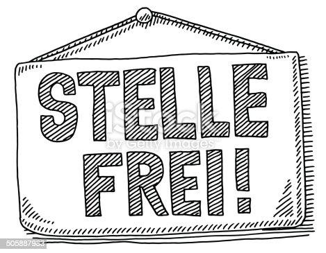 istock Stelle Frei Job Hiring Hanging Sign Drawing 505887983