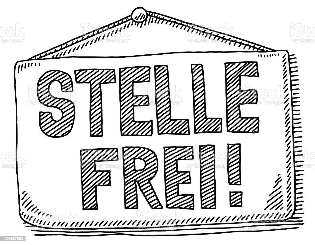 Stelle Frei Job Hiring Hanging Sign Drawing vector art illustration
