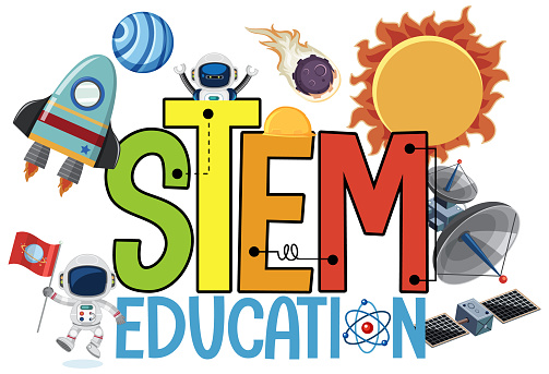 Stem education logo with space objects isolated