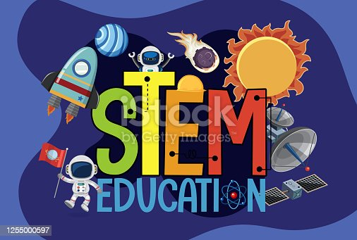 Stem education logo with space objects illustration