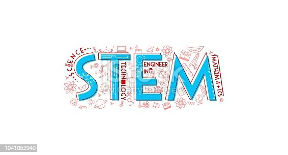 stem typography icon illustration