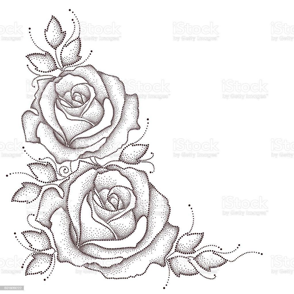 Stelo Con Pois Rosa E Foglie Isolato Su Sfondo Bianco Immagini
