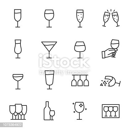 stemware, icon set. wineglass. Line with editable stroke