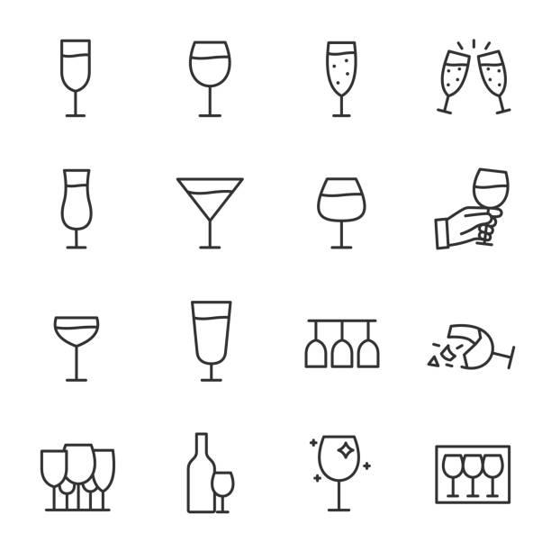 脚付きグラスのアイコンを設定します。ワイングラス、線形アイコン。編集可能なストロークで行します。 - ワイングラス点のイラスト素材/クリップアート素材/マンガ素材/アイコン素材