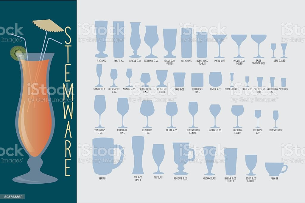 Stemware, type of glasses vector art illustration